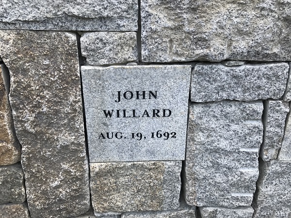 John Willard's Memorial Marker, Proctor's Ledge Memorial, Salem, Mass