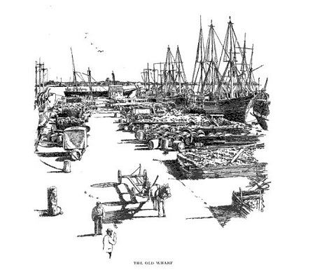 The Old Wharf at Salem, Mass, illustration published in the New England Magazine, circa March 1914