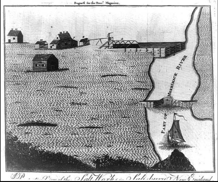 A Perspective View of the Salt Works in Salisbury, New England, illustration by Robert Aitken, published in The Pennsylvania Magazine circa 1776