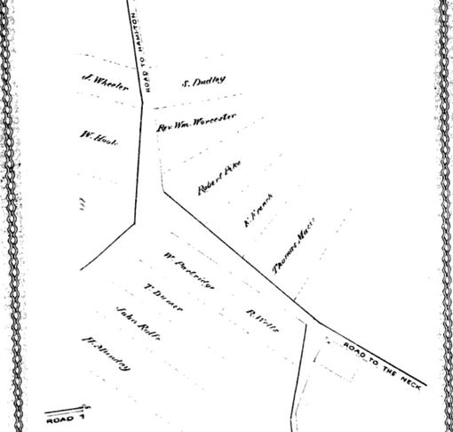 Map of Salisbury Square in 1639, published in History of Amesbury circa 1880