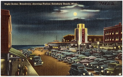 """Night scene, Broadway, showing Frolics, Salisbury Beach, Mass,"" postcard published by Tichnor Bros, Inc"