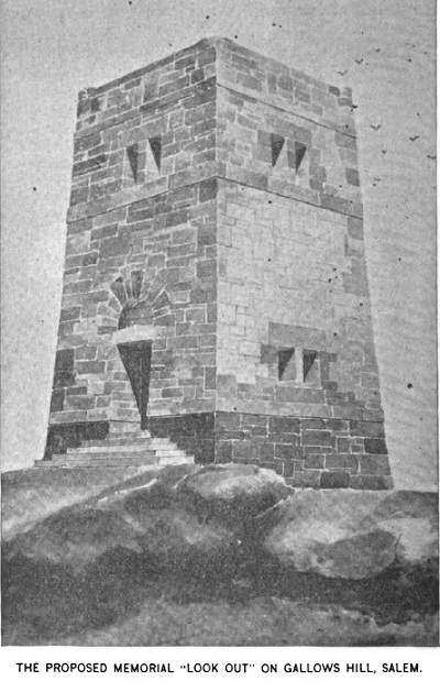 Proposed Gallows Hill Memorial, illustration published in Putnam's Monthly Magazine, Volume 1, in 1893