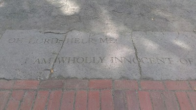 Inscriptions on the entryway of the Salem Witch Trials Memorial