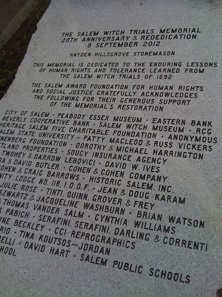Salem Witch Trials Memorial Rededication Plaque
