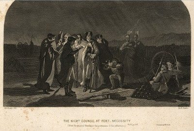 """The Night Council at Fort Necessity,"" an engraving depicting the evening council of George Washington at Fort Necessity"