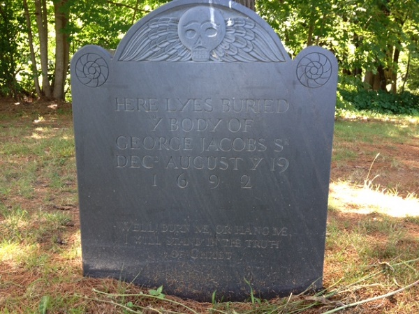 George Jacobs, Sr.'s, headstone at the Rebecca Nurse Homestead cemetery, Danvers, Mass. Photo credit: Rebecca Brooks