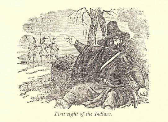 """First sight of the Indians."" Illustration published in A Pictorial History of the United States circa 1852"