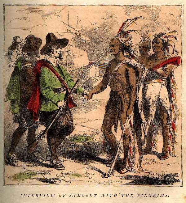 Interview of Samoset with the pilgrims, illustration, circa 1864