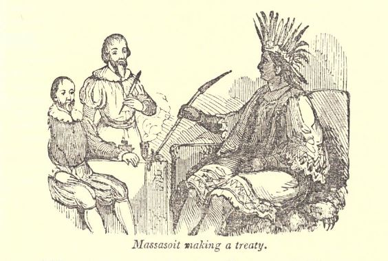 """Massasoit making a treaty."" Illustration published in A Pictorial History of the United States circa 1852"