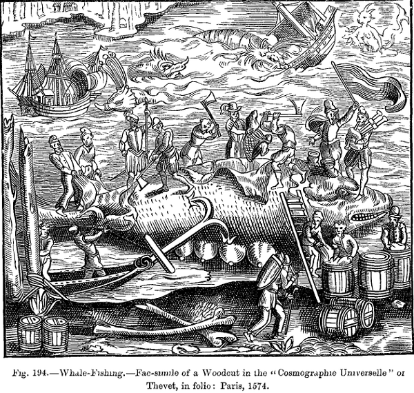 Woodcut depicting whaling in the 16th century