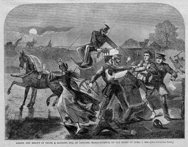 Frank Sanborn of Concord, Ma, resists arrest by Federal Marshals in regard to his support of abolitionist John Brown, illustration published in Harper's Weekly, circa 1860