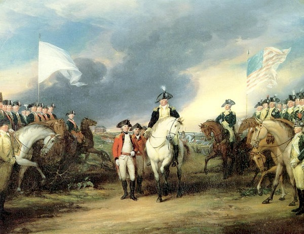 """Surrender of Cornwallis at Yorktown"" oil painting by John Trumball, circa 1819-20, depicting the British surrendering to French and American troops in Yorktown."