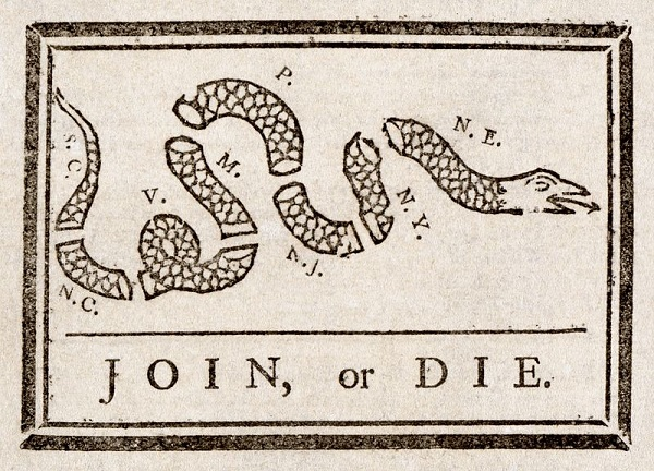 Join or Die, political cartoon by Benjamin Franklin,circa 1754