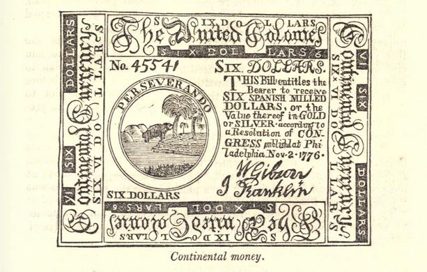Continental money, illustration published in A Pictorial History of the United States, circa 1857