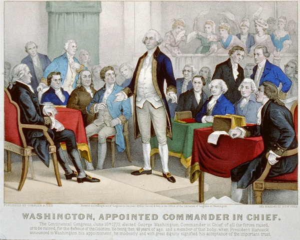 George Washington accepting command of the Continental Army, lithograph by Currier & Ives, circa 1876