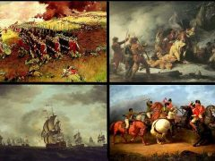 Revolutionary War Battles. Top left: Battle of Bunker Hill. Top right: Death of Montgomery at Quebec. Bottom left: Battle of Cowpens. Bottom right: Moonlight Battle
