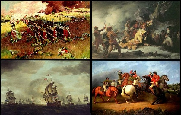 Revolutionary War Battles. Top left: Battle of Bunker Hill. Top right: Death of Montgomery at Quebec. Bottom left: Battle of Cowpens. Bottom right: Battle of Cape St. Vincent