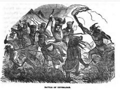 Battle of Tippecanoe, illustration published in Military Heroes_ of the War of 1812, circa 1849