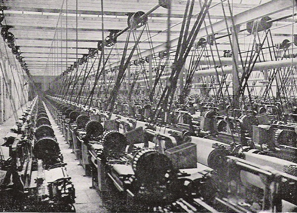 Lancashire cotton mill, steam powered weaving shed, photo published in More Pictures of British History, circa 1914
