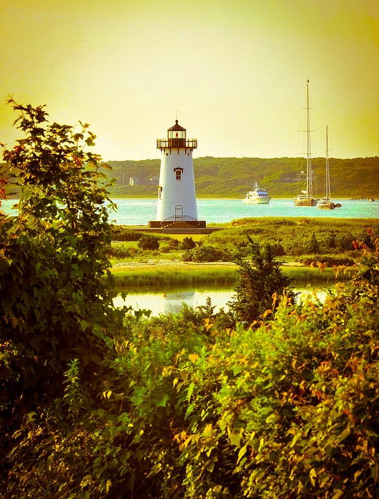 Lighthouse on Martha's Vineyard in Cape Cod.