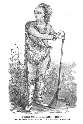 Pometacom, alias King Philip, illustration published in Indian History, Biography and Genealogy circa 1878
