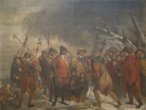 Landing of the Pilgrims, oil painting by Henry Sargent, circa 1818-1822