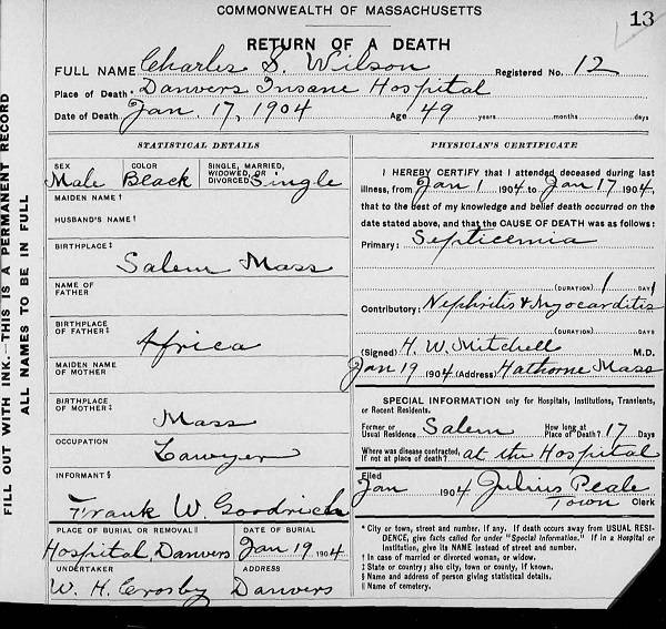 Charles S. Wilson, death certificate listing burial at Danvers State Hospital cemetery, circa 1904