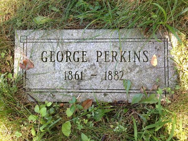 Grave of George Perkins, Danvers State Hospital Cemetery, Danvers, Mass