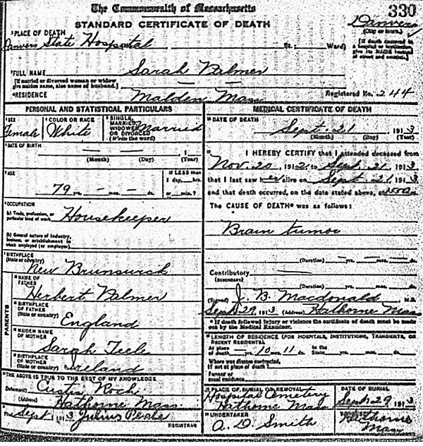 Sarah Palmer, death certificate listing burial at Danvers State Hospital cemetery, circa 1913