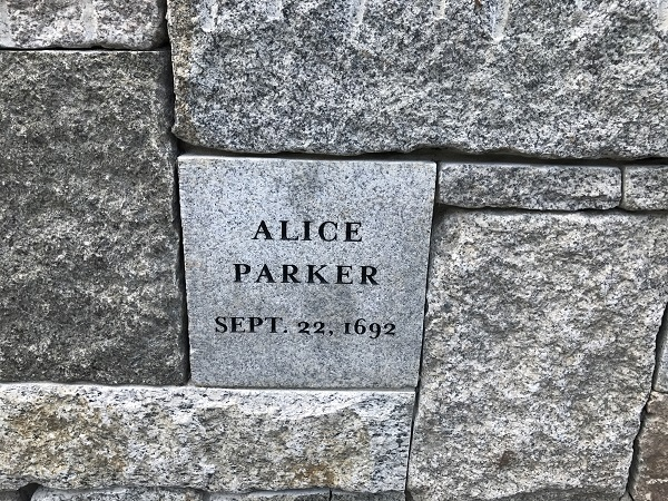Alice Parker, Memorial Marker, Proctors Ledge Memorial, Salem, Mass