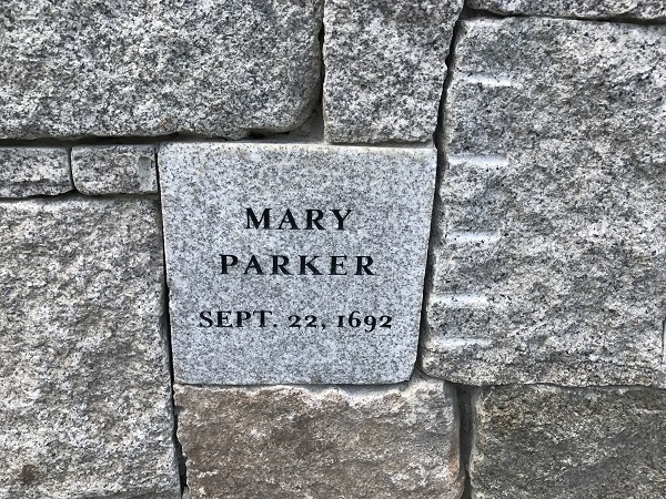 Mary Parker, Memorial Marker, Proctors Ledge Memorial, Salem, Mass