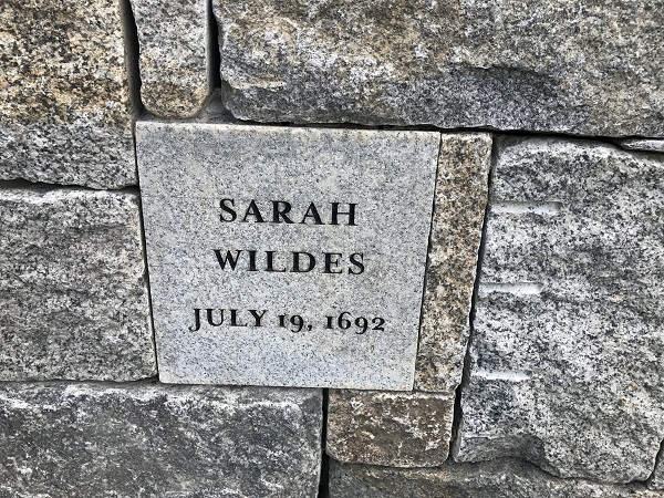 Sarah Wildes, Memorial Marker, Proctor's Ledge Memorial, Salem, Mass