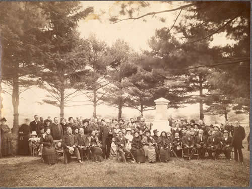 Memorial ceremony with the Nourse Monument Association at the Nurse family cemetery, Danvers, Mass, circa 1885