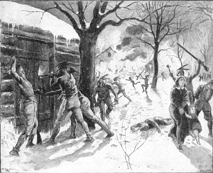 Attack on Deerfield Illustration by Walter Henry Lippincott circa 1900