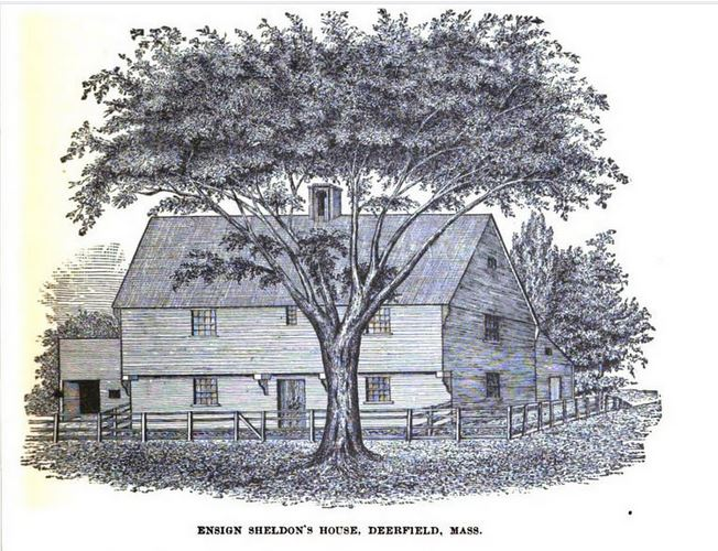 Ensign Sheldons House Deerfield Mass Illustration published in The Border Wars of New England circa 1897