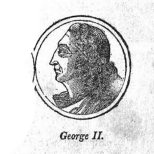 King George II, illustration published in A History of the United States of America, circa 1832