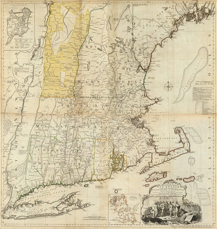 A Map of the most Inhabited part  of New England, containing the Provinces of Massachusetts Bay and New  Hampshire, with the Colonies of Connecticut And Rhode Island, by Thomas Jefferys, published in The American Atlas circa 1776