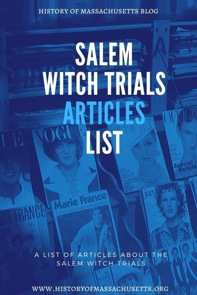Salem Witch Trials Articles List