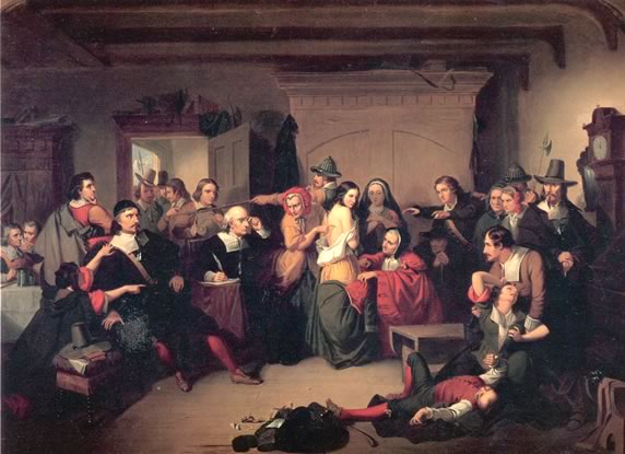 Examination of a Witch oil painting by Thompkins H. Matteson circa 1853
