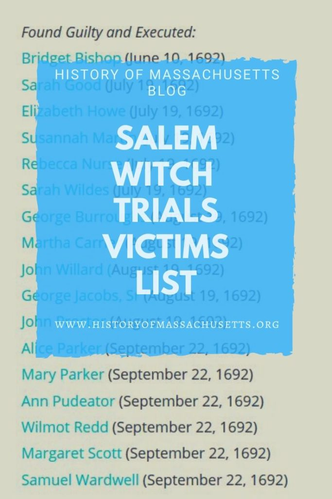 Salem Witch Trials Victims List