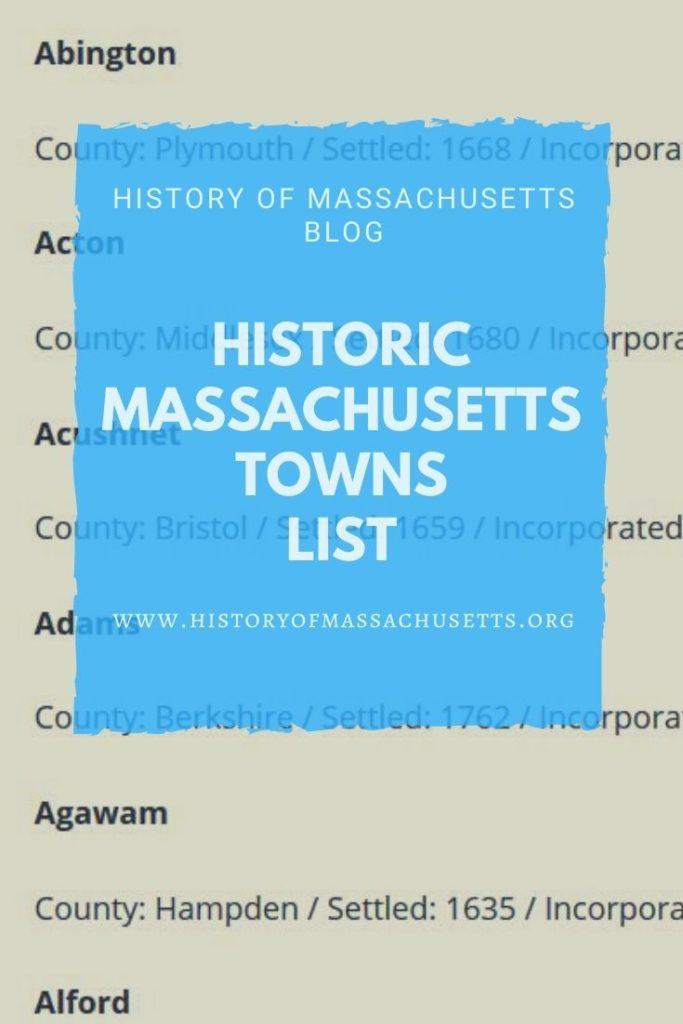 Historic Massachusetts Towns List