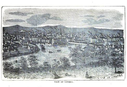 Lowell Mass, illustration published in Illustrated History of Lowell, circa 1868