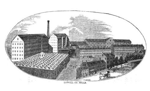 Lowell Mills, image published in the Illustrated History of Lowell, circa 1868