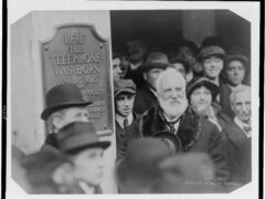 Alexander Graham Bell at the unveiling of a plaque commemorating the 1875 invention of the telephone in Boston-Mass, circa 1916