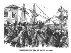 Destruction of Tea in Boston Harbor, illustration published in the Pictorial History of the United-States