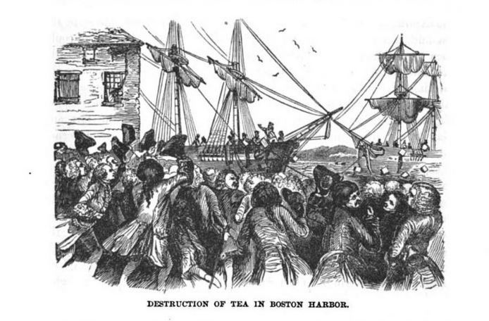 Destruction of Tea in Boston Harbor, illustration published in the Pictorial History of the United States, circa 1877