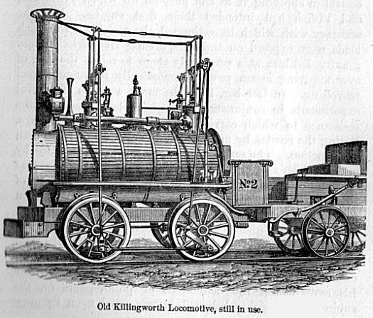 Stephenson's locomotive used in the Killingworth mines, illustration published in Samuel Smiles' Lives of the Engineers in 1862