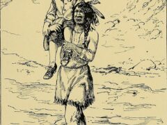 Squanto returning John Billington, illustration published in Good Stories for Great Birthdays, circa 1922