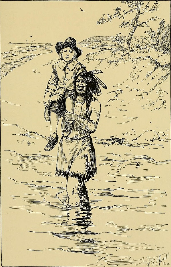 Squanto returning John Billington, illustration published in the children's book Good Stories for Great Birthdays, circa 1922
