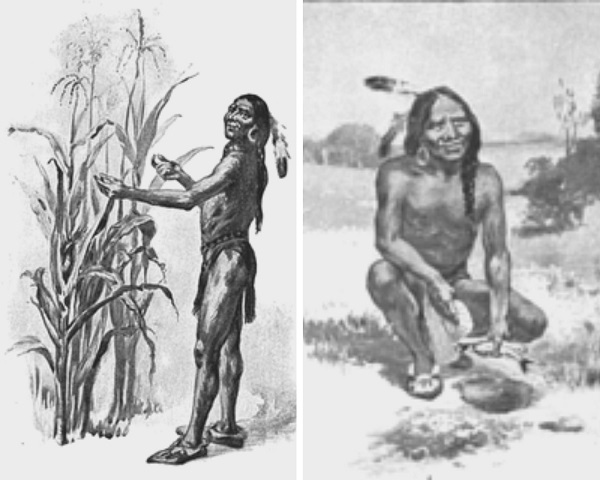 Squanto teaching the pilgrims to plant maize, illustration published The Teaching of Agriculture in High School, circa 1911